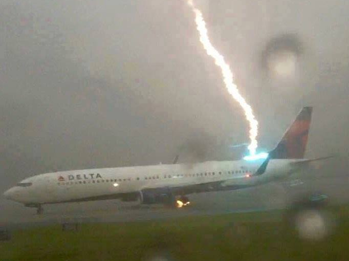 Plane Hit by Lightning