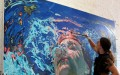Underwater Painting Above the Surface