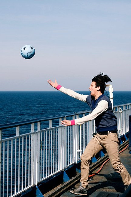Playing soccer on the ferry